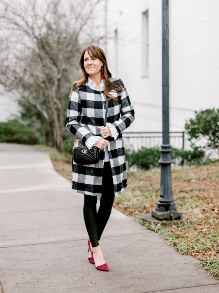 How to wear a buffalo check coat this winter via Peaches In A Pod blog.