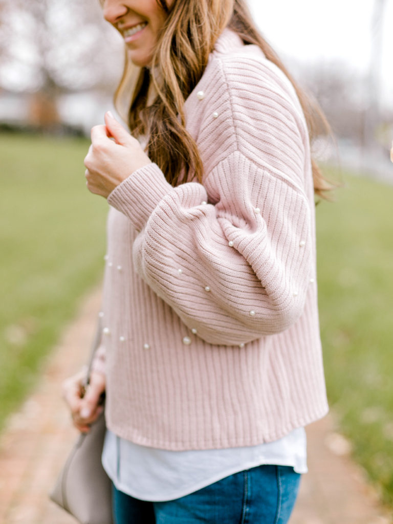 Cute pink pearl embellished sweater via Peaches In A Pod blog. Winter fashion for women.