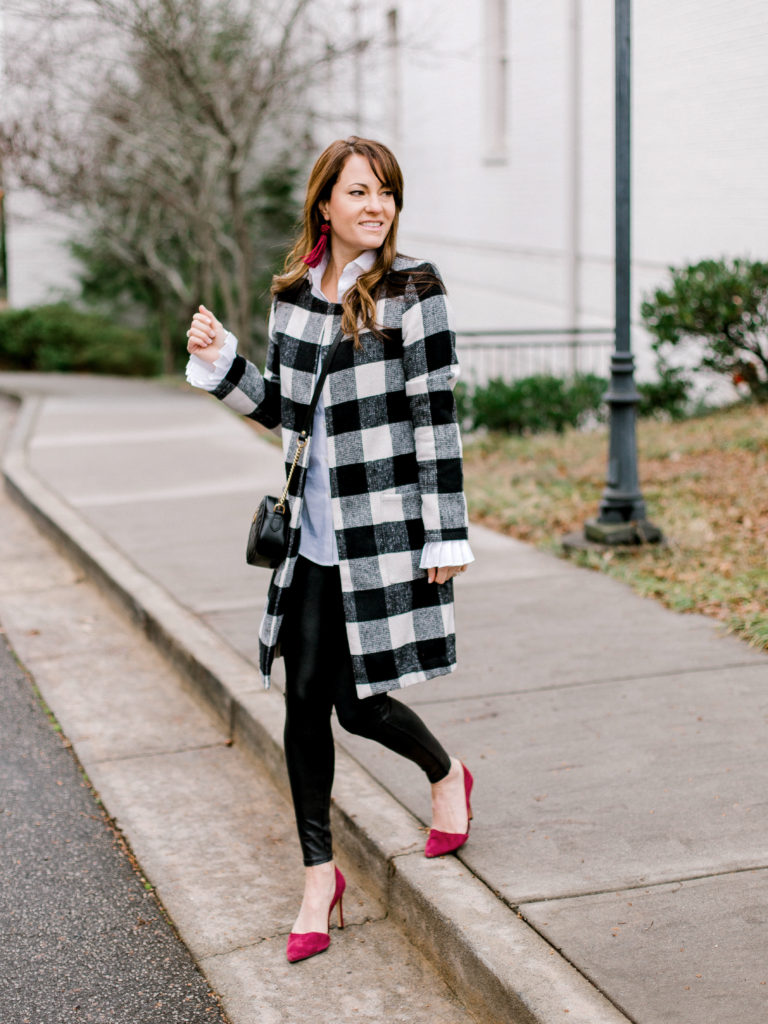 Cute winter coat outfit idea via Peaches In A Pod blog.