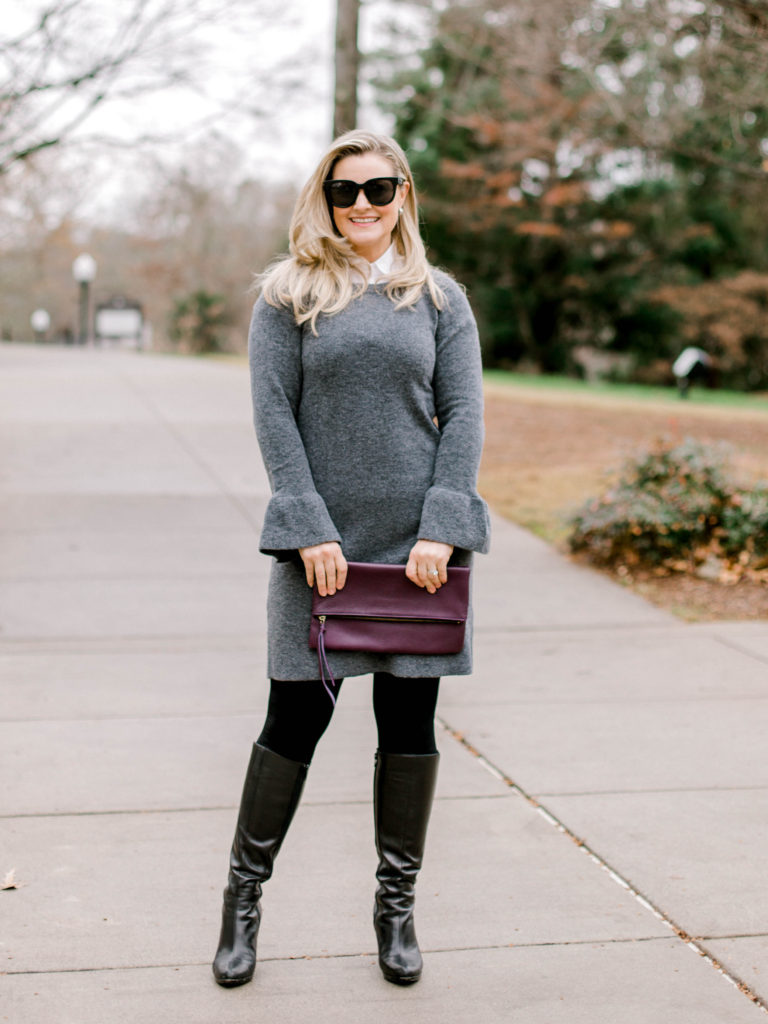 How to style a gray sweater dress with tall boots to create a great winter outfit.