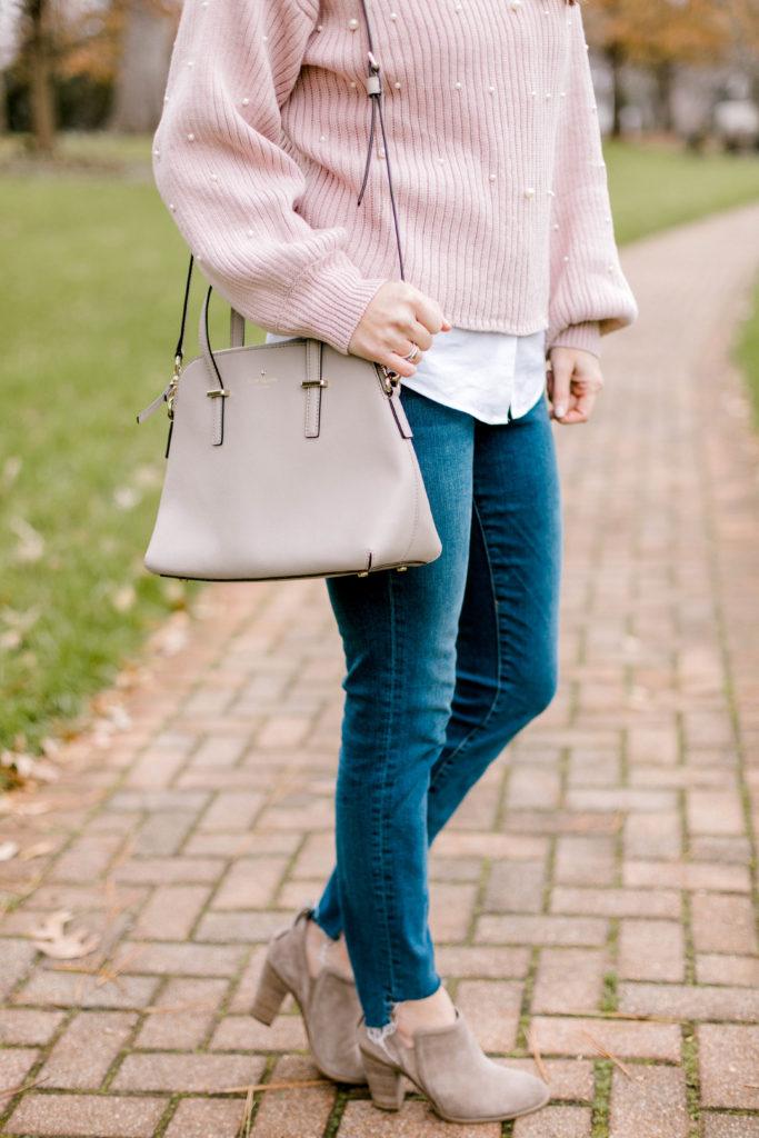 Gray crossbody bag outfit idea via Peaches In A Pod blog.