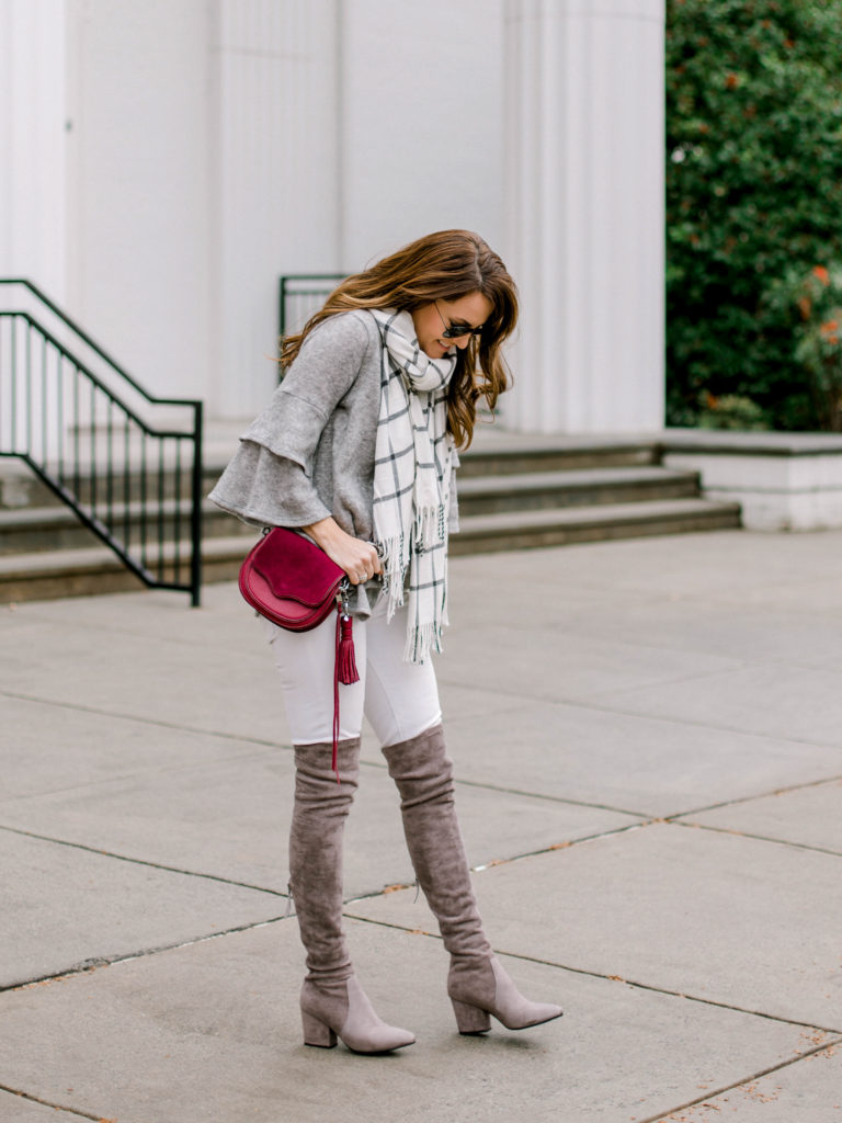 Gray suede over the knee boots outfit idea via Peaches In A Pod blog.