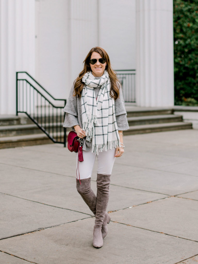 How to wear white denim in the winter via Peaches In A Pod blog.