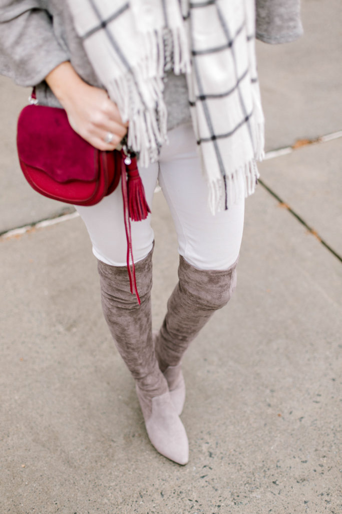 Gray suede over the knee boots via Peaches In A Pod blog.