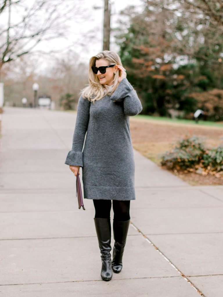 how to wear a sweater dress in the witner to create a great office outfit.