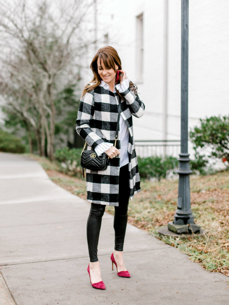 How to style a buffol print coat this winter via Peaches In A Pod blog.