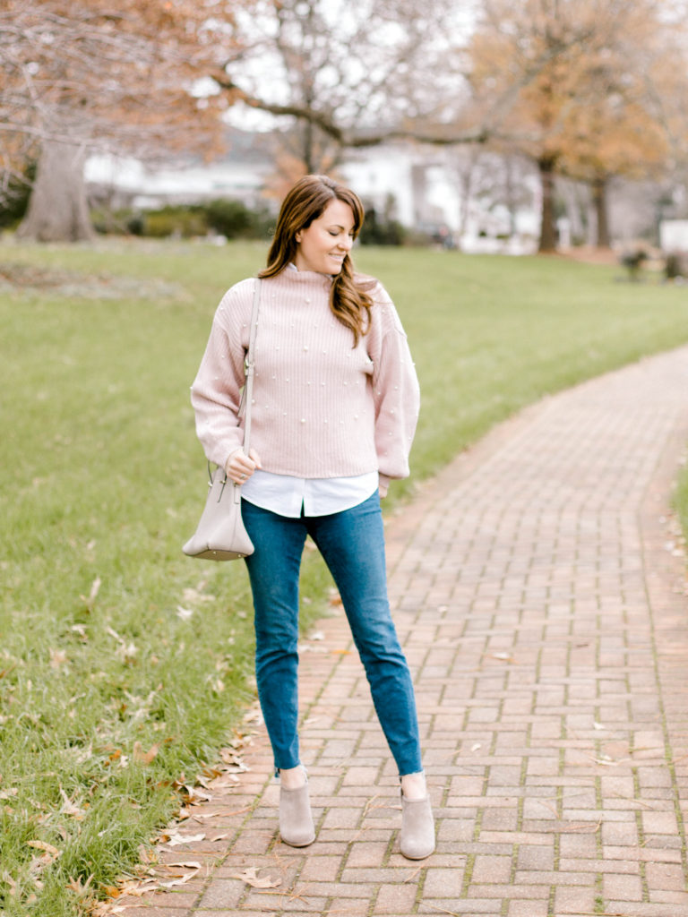 How to wear a pink sweater via Peaches In A Pod blog.