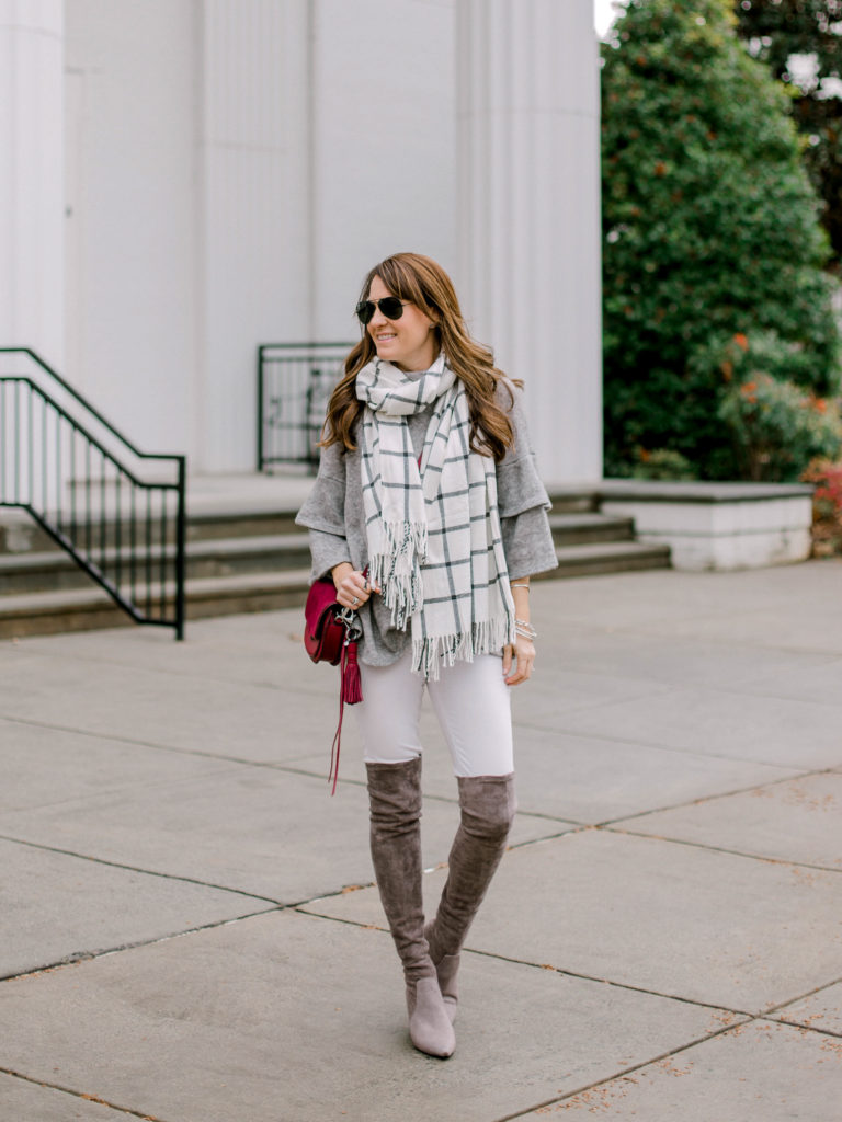 3b825f8c62e How to wear gray over the knee boots via Peaches In A Pod blog.