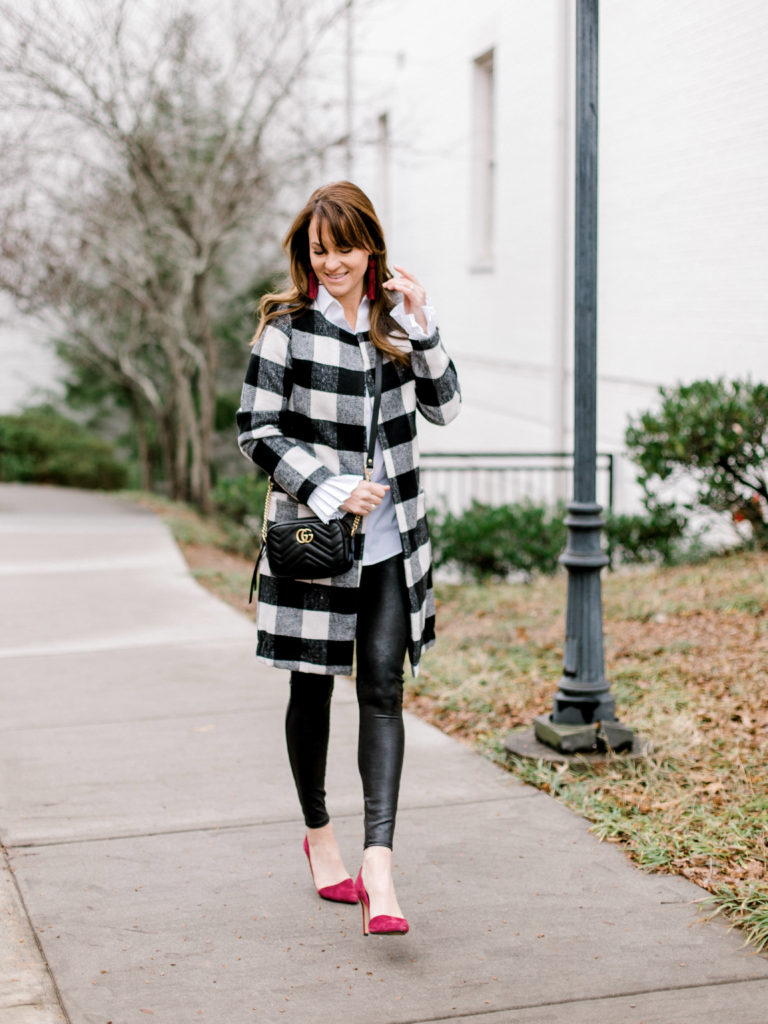 Leather leggings outfit idea via Peaches In A Pod blog.