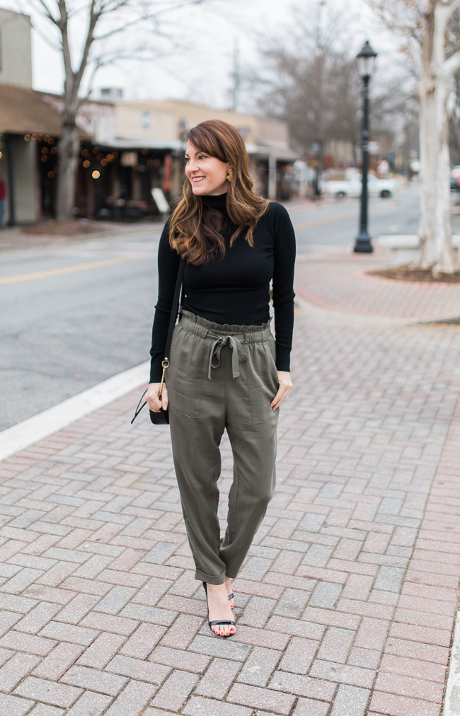 How to wear paper bag pants via Peaches In A Pod blog.  These pants area great option if you are tired of wearing denim.