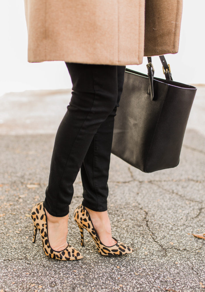 How to wear leopard heels this winter via Peaches In A Pod blog.