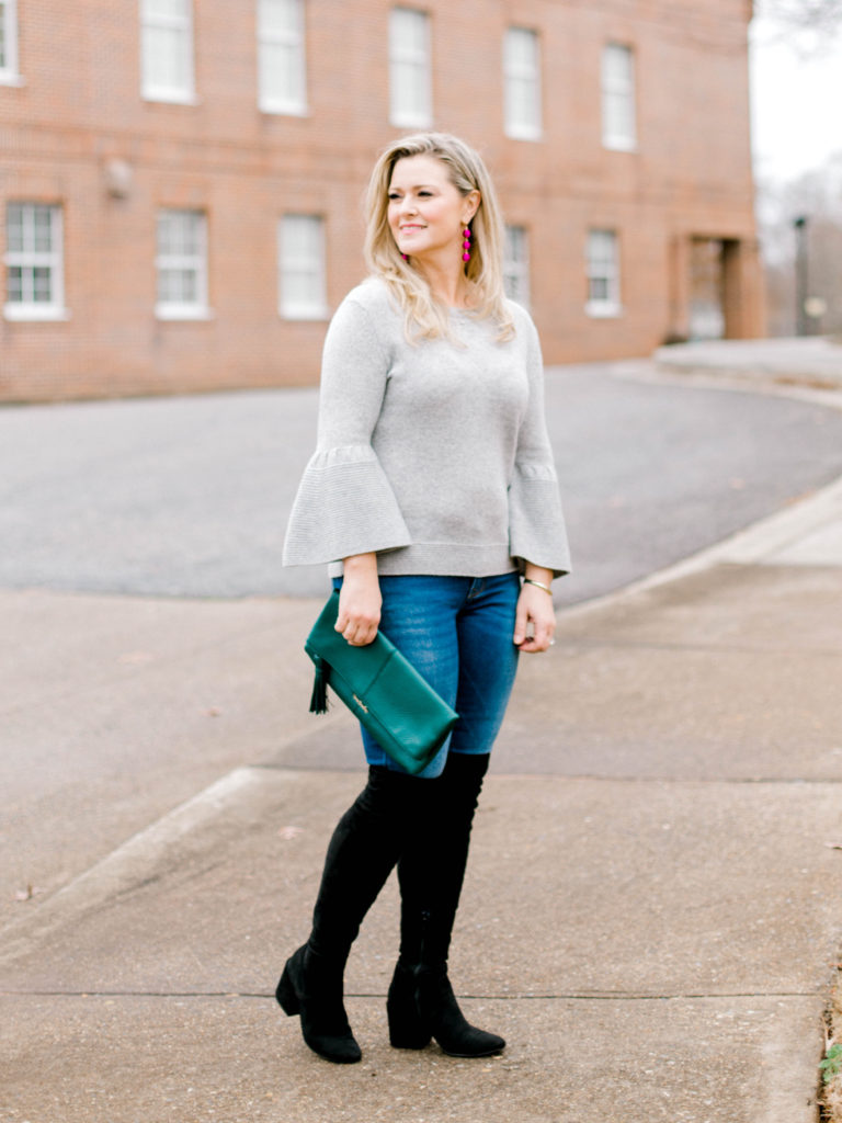 How to style a bell sleeve gray sweater to create a great winter outfit.
