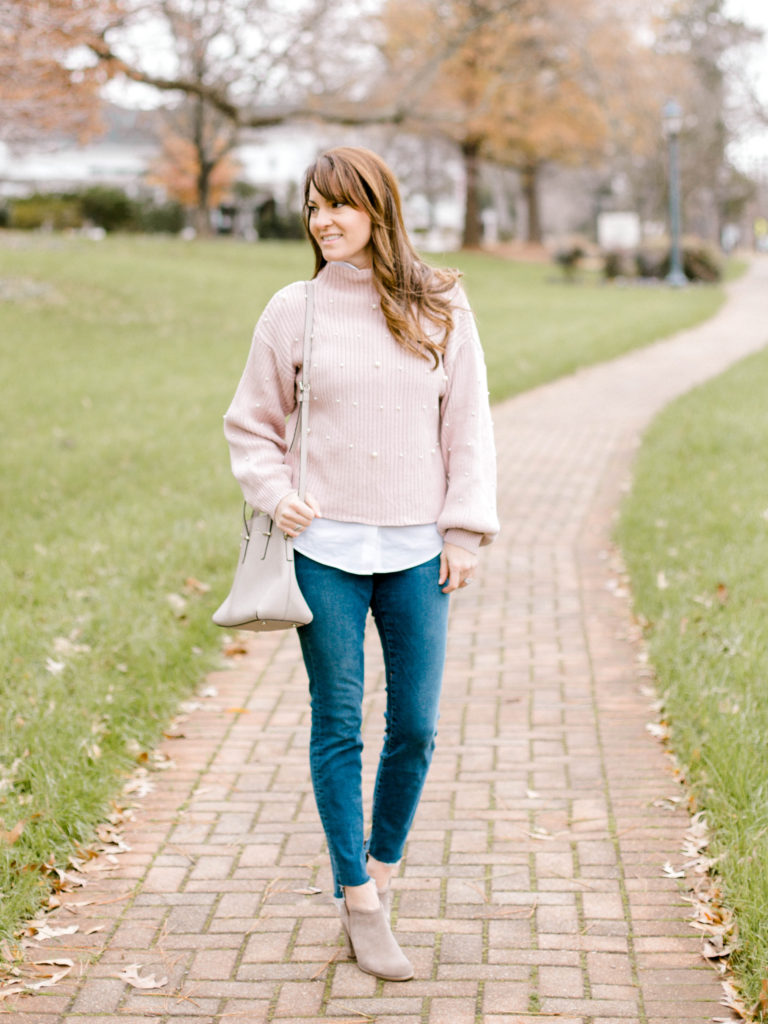 Pink pearl embellished sweater outfit idea for women via Peaches In A Pod blog. Cute winter sweater ideas for women.