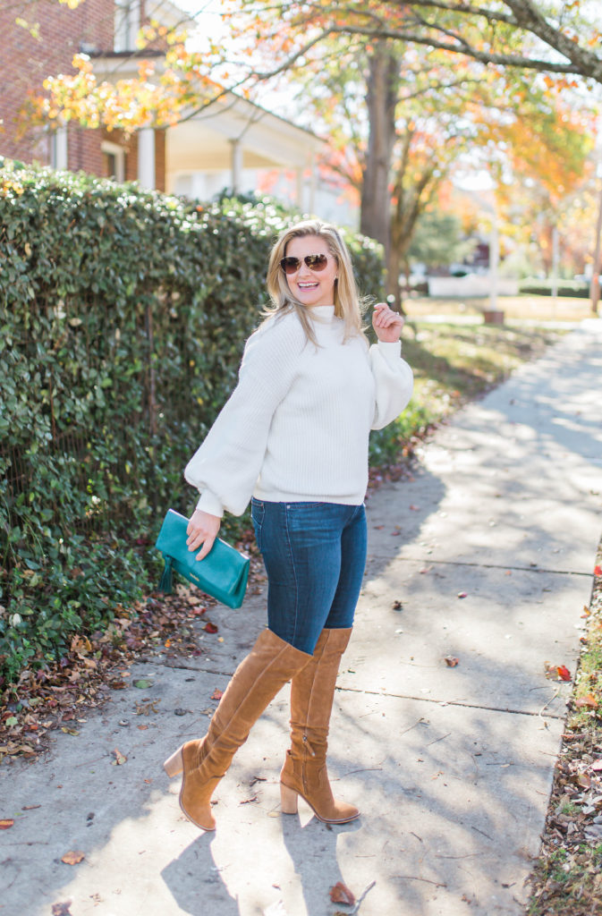 How to wear over the knee boots when you are petite to create a great winter outfit.