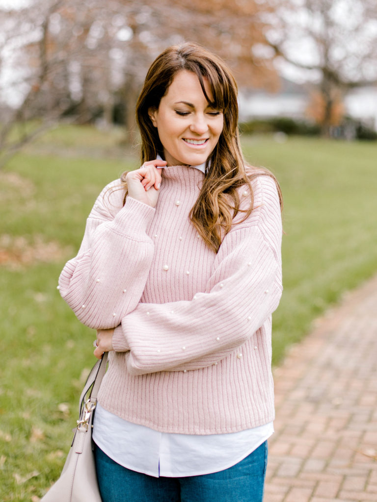 Pink Pearl Embellished sweater for women via Peaches In A Pod blog.