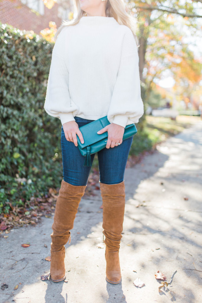 cute winter outfit with a white sweater and over the knee boots. perfect for winter.