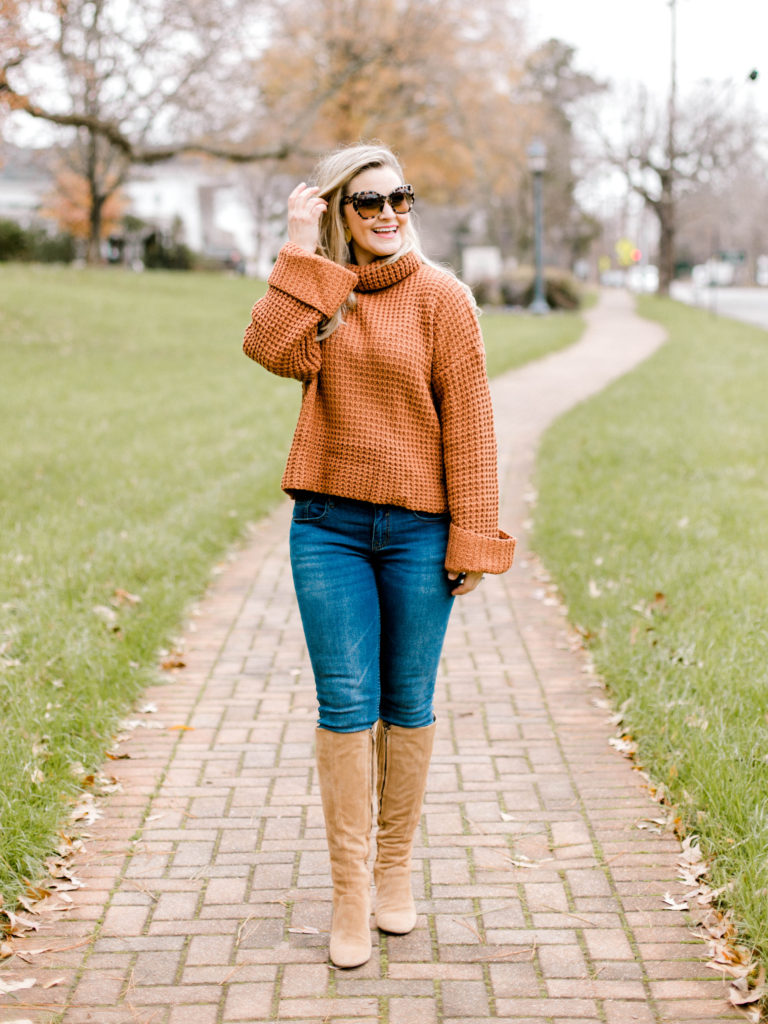 How to style tall boots with a bell sleeve turtleneck sweater to create a great casual look.
