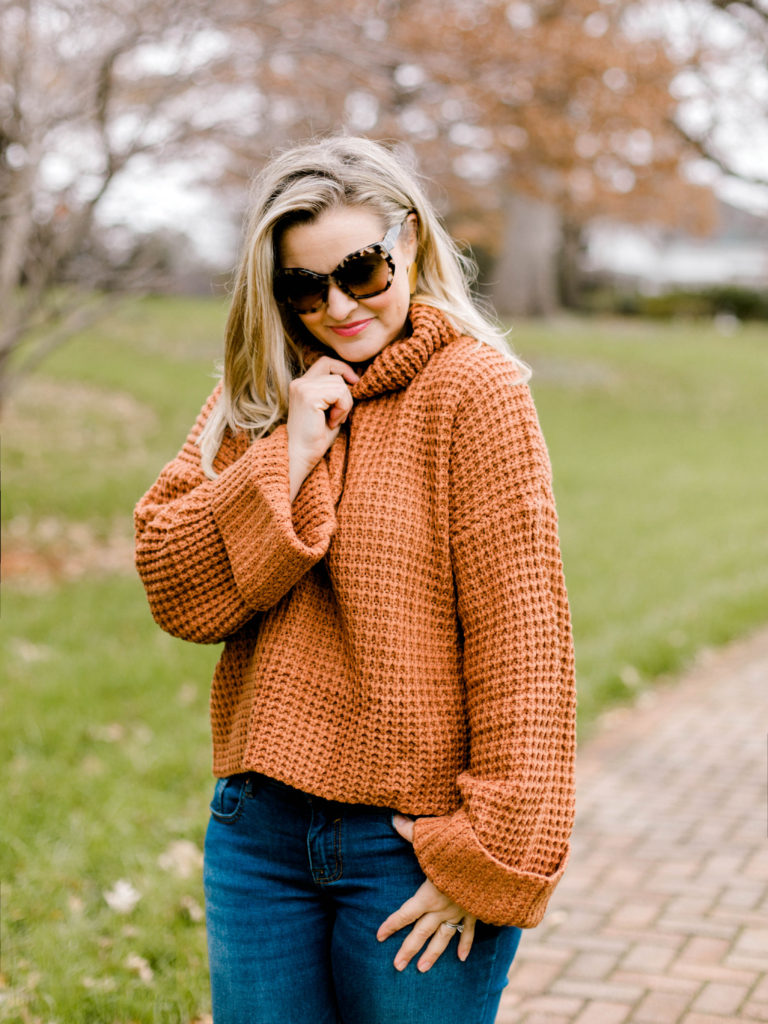The perfect terracotta bell sleeve sweater.