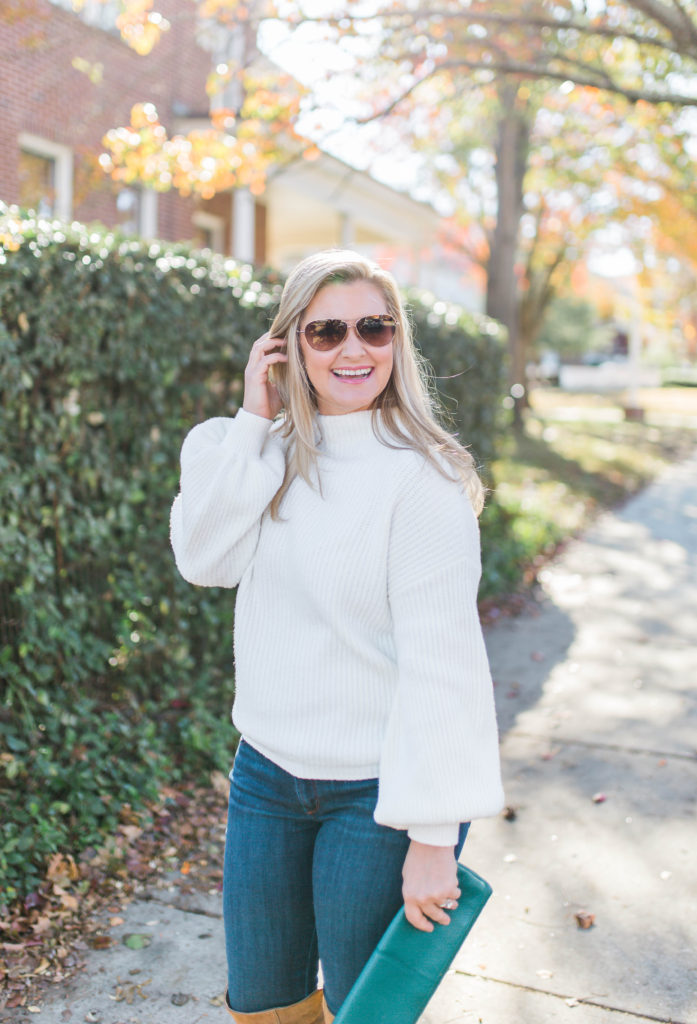 Cute puff sleeve sweater that is perfect for petites.