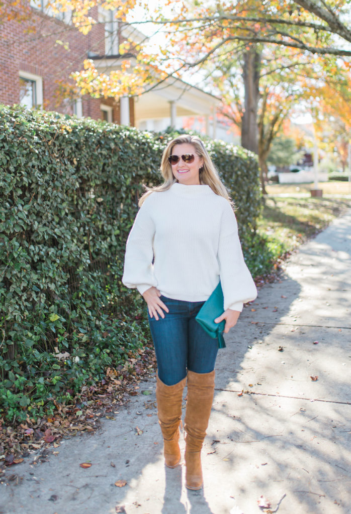 how to style a white sweater with jeans and over the knee boots to create a great winter outfit.