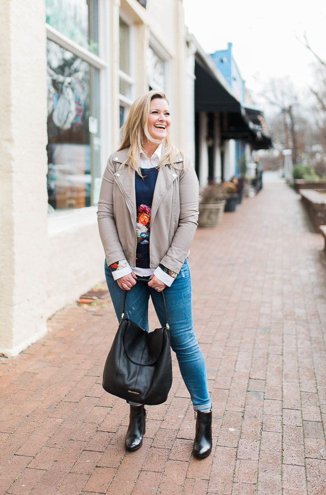 How to style a gray leather jacket in the wintertime