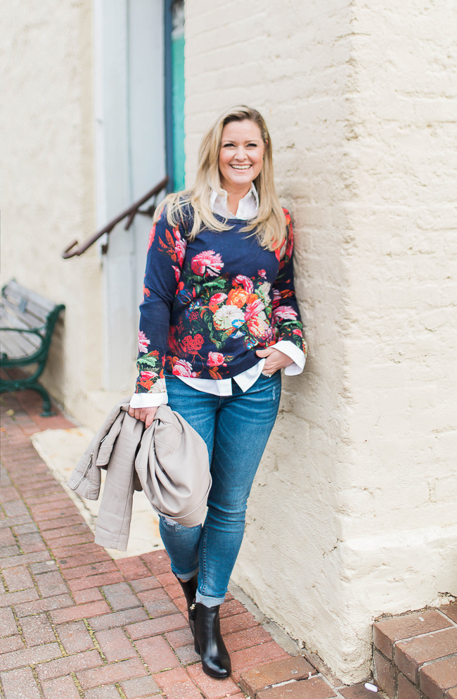 How to style a floral sweater to transition into Spring.