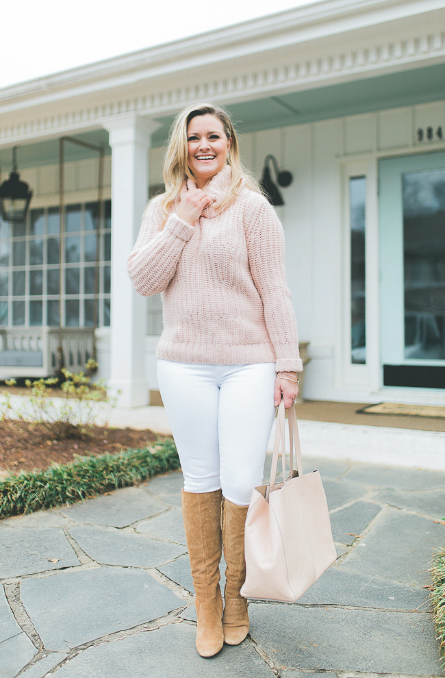 how to style a pink sweater with white jeans to create a great Valentine's Day outfit