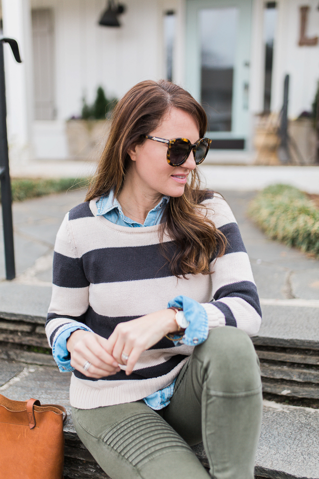 How to style a striped sweater via Peaches In A Pod blog.