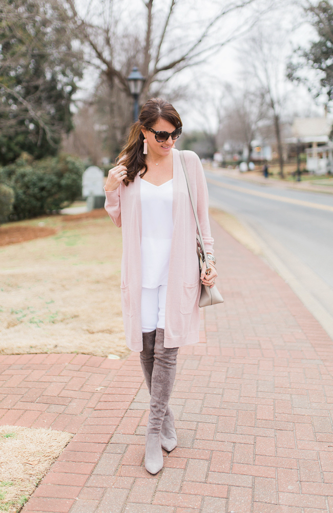 Gray over the knee boots for spring via Peaches In A Pod blog. Download the LIKEtoKNOW.it app and shop this look via screenshot.
