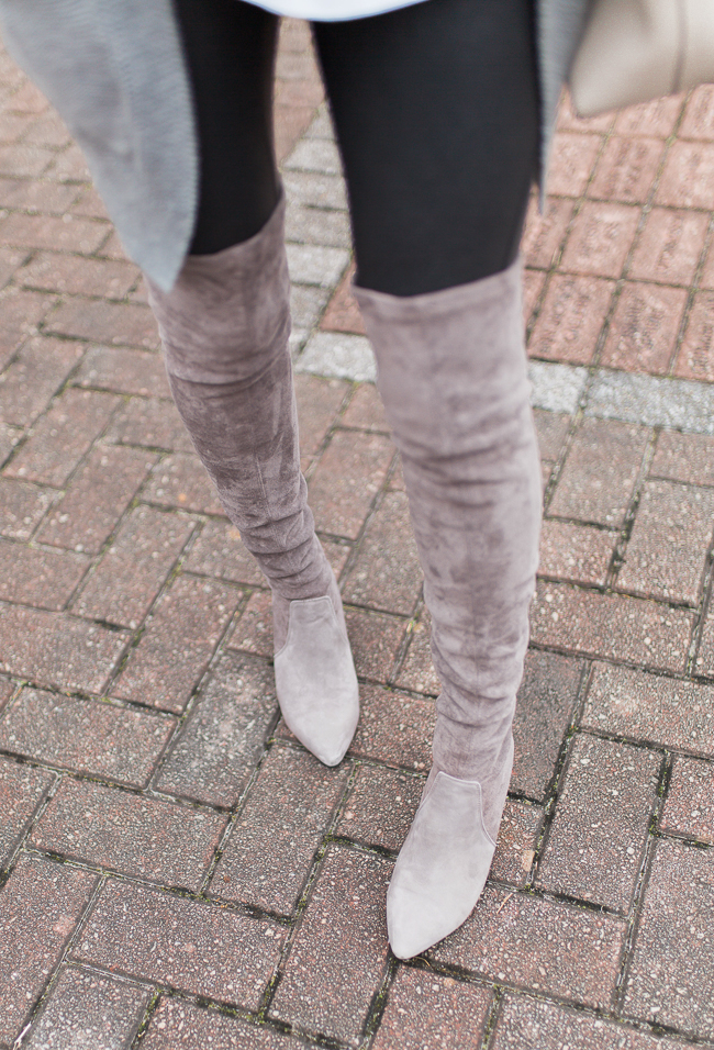Goodnight Macaroon gray suede over the knee boots via Peaches In A Pod blog.
