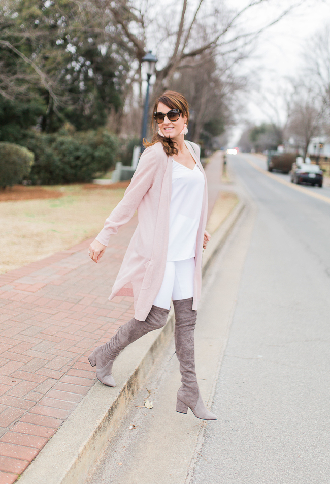 How to wear a pink cardigan via Peaches In A Pod blog.
