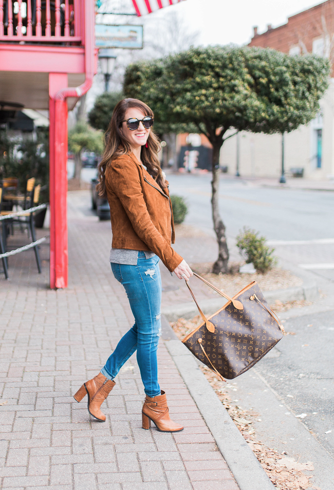 Blank NYC suede moto jacket via Peaches In A Pod blog.