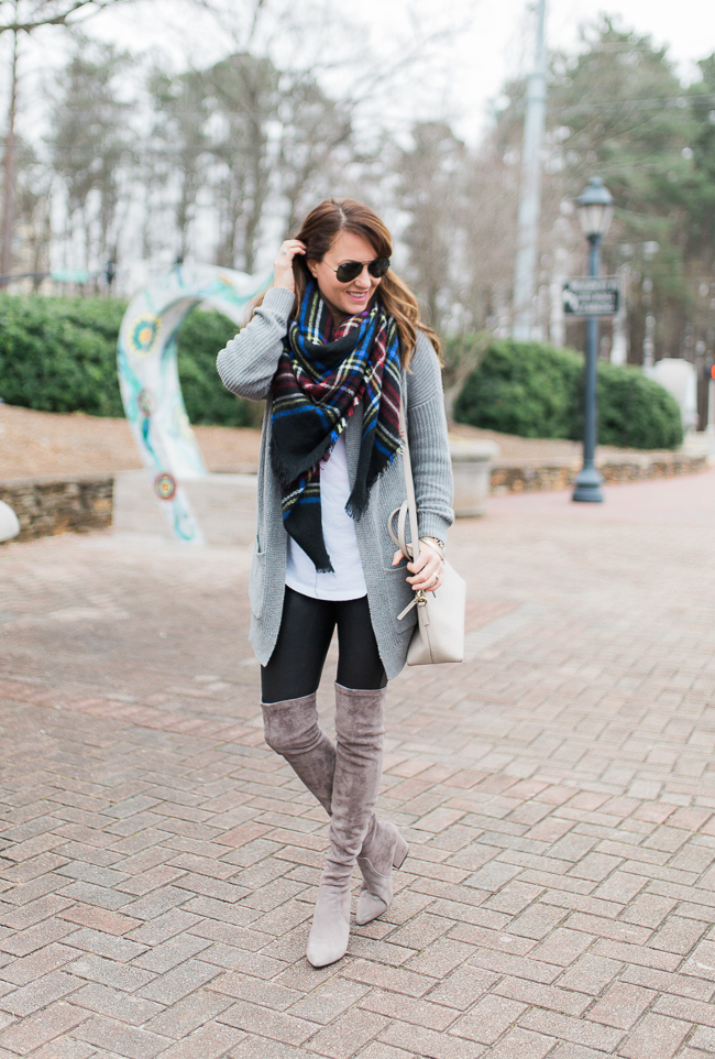 Gray suede over the knee boot outfit idea for women via Peaches In A Pod blog.