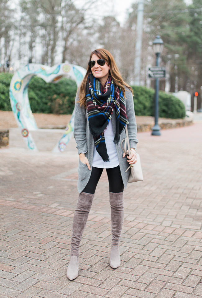 Over the knee boot style for women via Peaches In A Pod blog. How to wear over the knee boots.