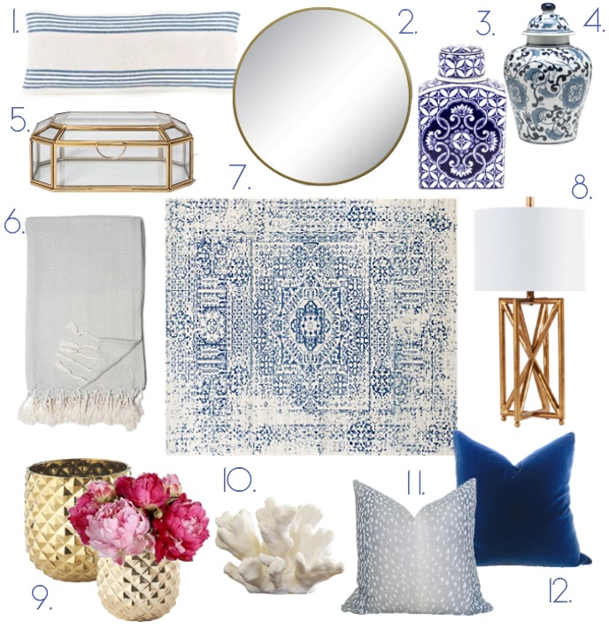 Blue and white home decor via Peaches In A Pod blog. W are loving all things Chinoiserie, so we are talking about how use it in your home decorating.