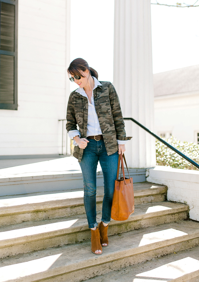 How to wear a camo jacket via Peaches In A Pod blog.
