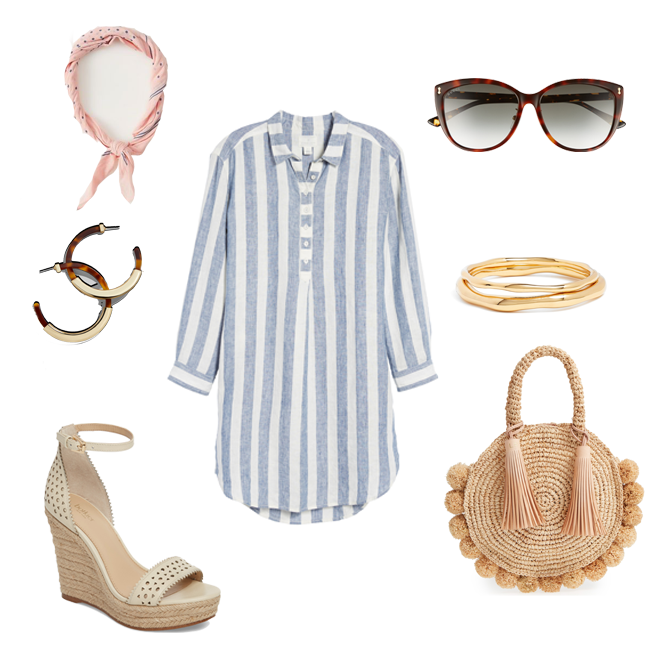 How to style a bandanna for Spring with a striped shirt dress and a circle straw bag. The perfect Spring outfit.