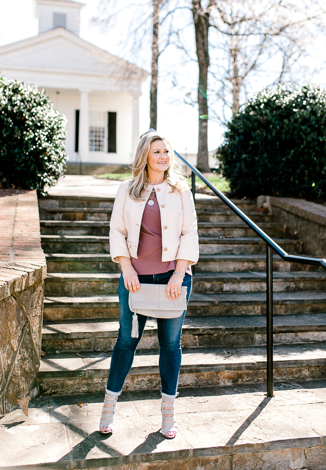 How to style a pink leather jacket for Spring