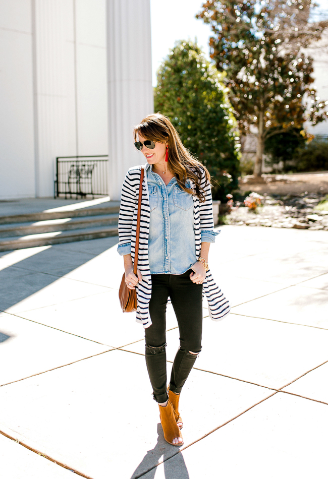Black denim outfit for Spring via Peaches In A Pod blog.