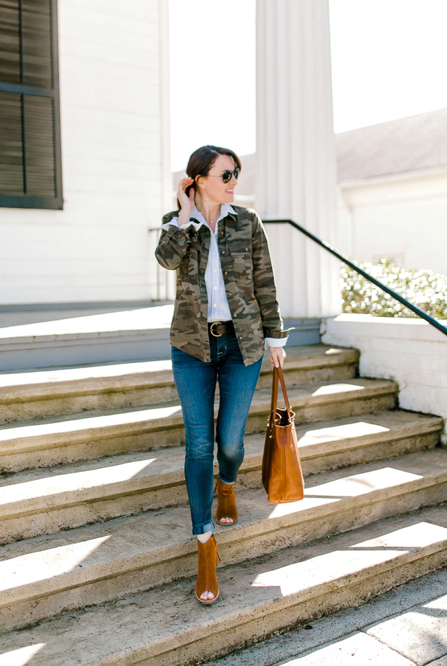 Camo jacket outfit idea via Peaches In A Pod blog. Shop this look via screnshot by downloading the LIKEtoKNOW.it app and receive shopping links delivered to your inbox.