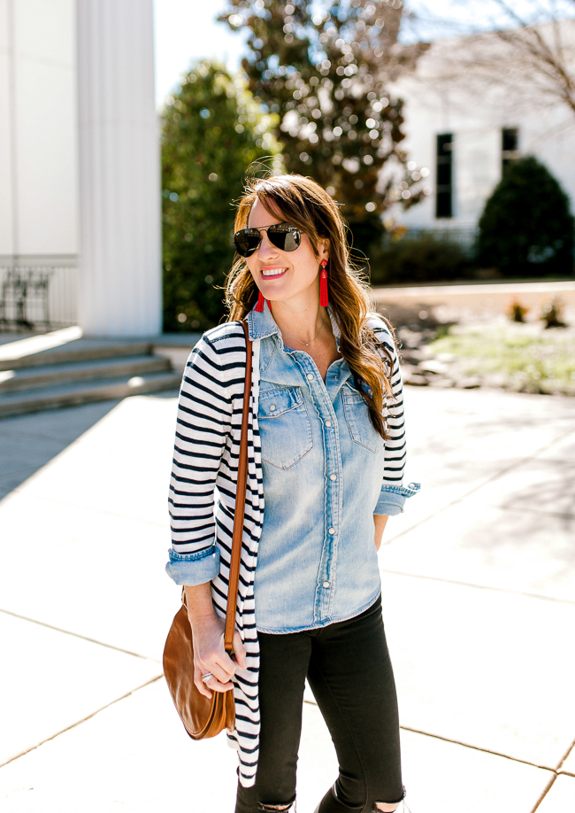Striped cardigan outfit idea for women via Peaches In A Pod blog.