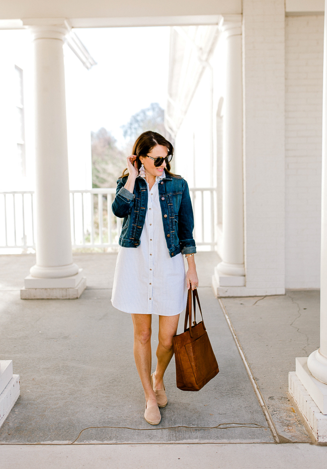 How to wear a shirtdress for Spring via Peaches In A Pod blog.