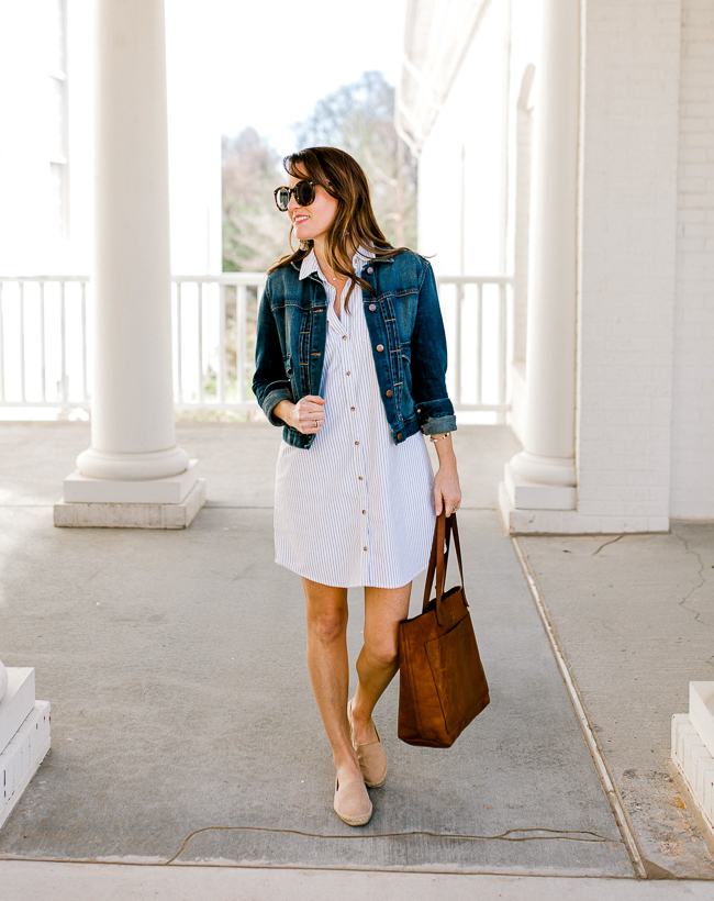 Classic Shirtdress outfit idea via Peaches In a Pod blog. Abercrombie and Fitch shirt dress for Spring. Women's spring style. Shop this look via screenshot by downloading the LIKEtoKNOW.it app.