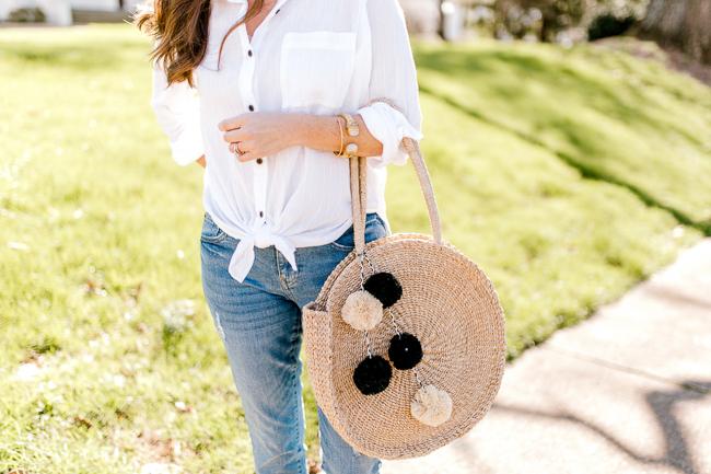 Kayu Pom circle tote via Peaches In A Pod blog. Cute Spring bags for women.