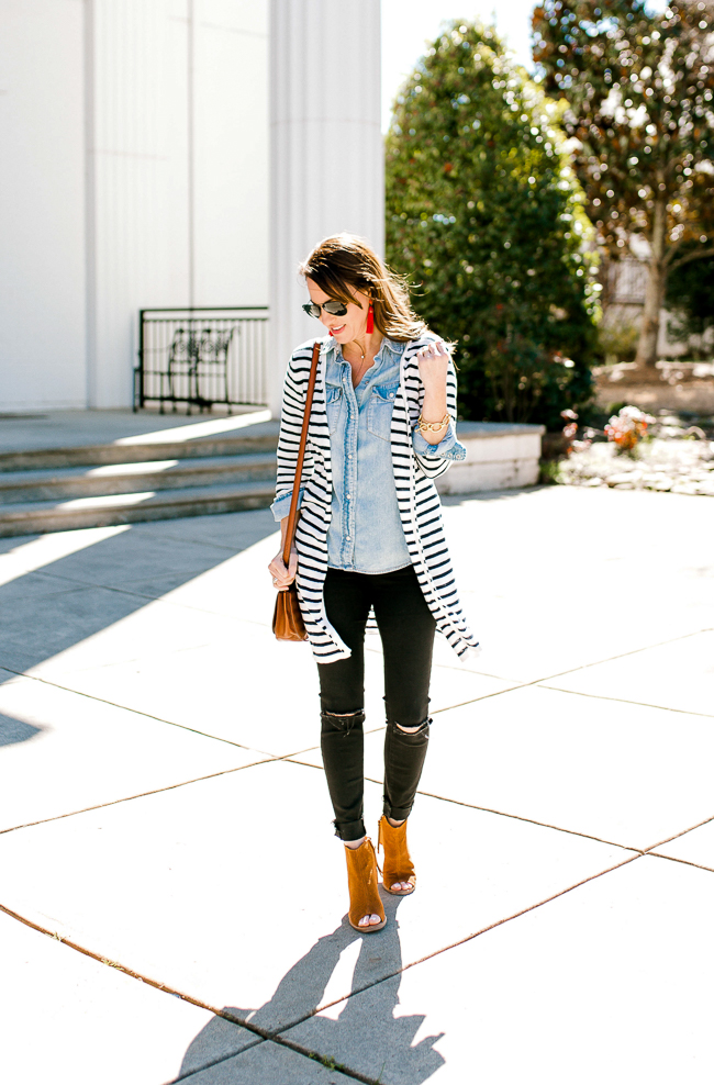Cute stripe cardigan outfit idea for women via Peaches In A Pod blog.