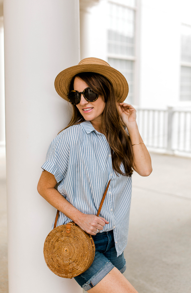Straw boater hat outfit idea via Peaches In A Pod blog.