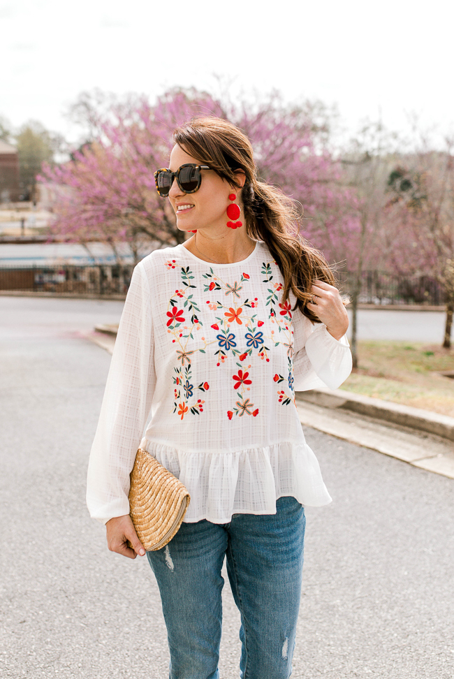 Cute and affordable embroidered top via Peaches In A Pod blog.