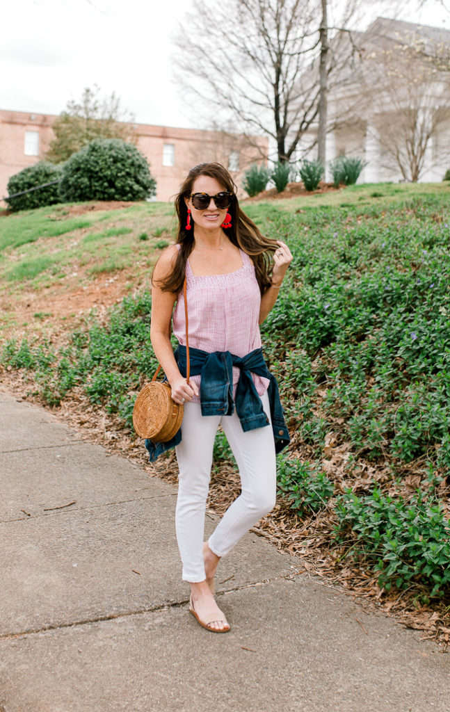 Spring wardrobe must haves via Peaches In A Pod blog. Every Spring closet needs a good denim jacket, white denim, and fun accessories. Stop by the blog to see our favorites. Shop this look via screen shot by downloading the LIKEtoKNOW.it app!