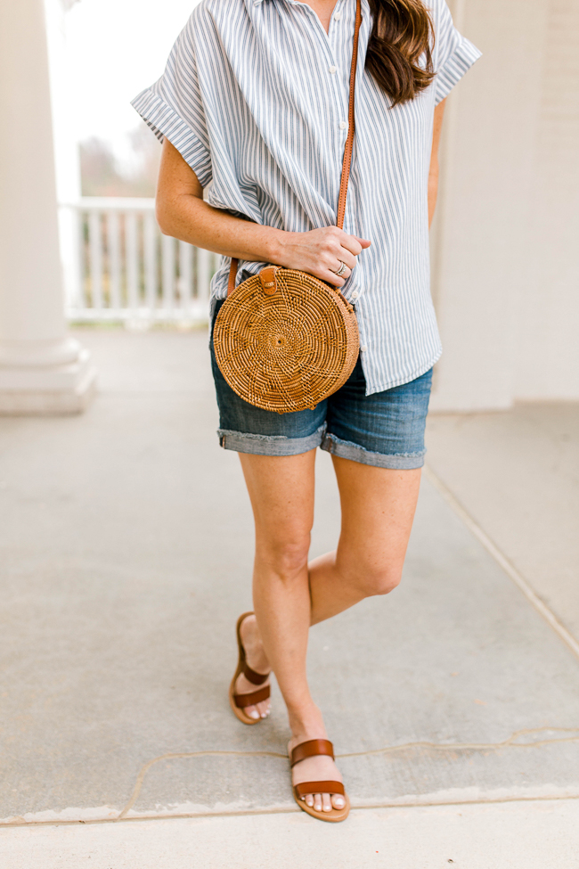 Cute Spring accessories via Peaches In A Pod blog. The straw circle tote and brown sandals.