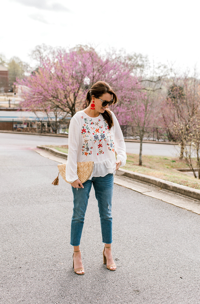 Embroidered top outfit idea via Peaches In A Pod blog.